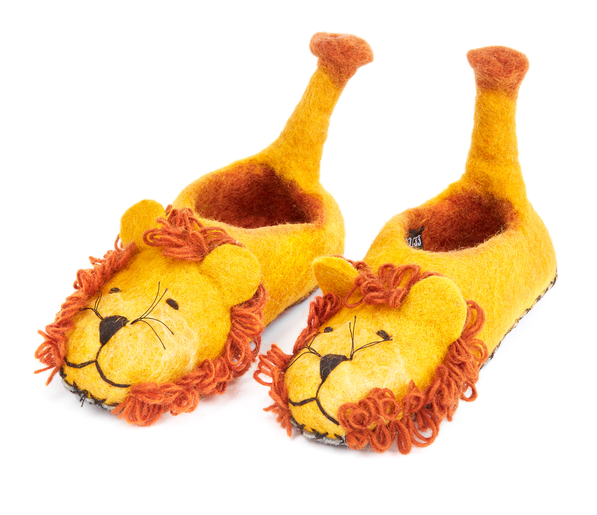 Hausschuhe Löwe, handgefilzt